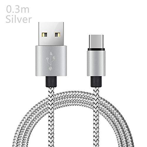 Lemon-Land 2A mobiele oplader Smartphones gevlochten Type-C 3.1 kabel USB-C snel opladen Sync Data(0.3m, zilver)
