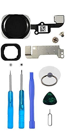 LTZGO Home Button/Hauptknopf für iPhone 6 und iPhone 6 Plus (Schwarz) mit Flexkabel Taste inkl. Metal Bracket und die Schutz Armatur Gummidichtung Reparatur-Tool-Kit Werkzeugset