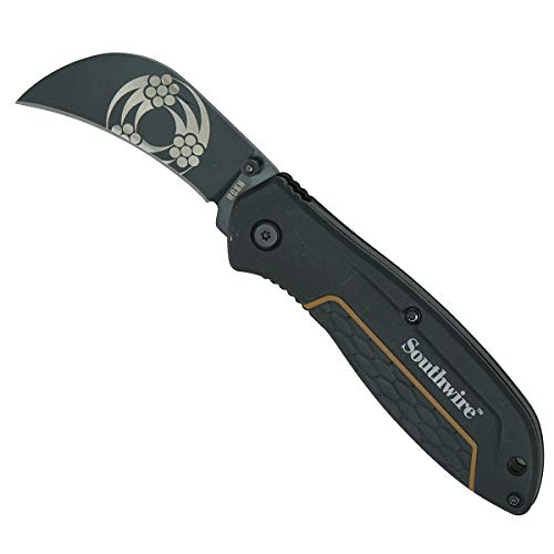 """Southwire - 65029440 Tools & Equipment HBKN Hawk Bill Pocket Knife, 2.6"""" blade, 8CR13MOV Stainless Steel- curved blade for pull cuts and splicing"""