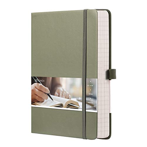 EMSHOI Graph Paper Notebook - 256 Pages A5 Graph Notebook/Journal, Hard Cover, 120gsm Thick Paper, Smooth PU Leather, Inner Pocket, 5.75'' × 8.38''-Green