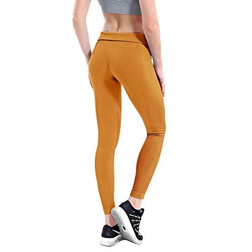 Pantalones de chándal elásticos Yoga Sport Fitness,Leggings de mujer de alta elasticidad,pantalones de yoga,mallas para correr delgadas-Amarillo_S,Pantalones de yoga elásticos rápido y transpirables