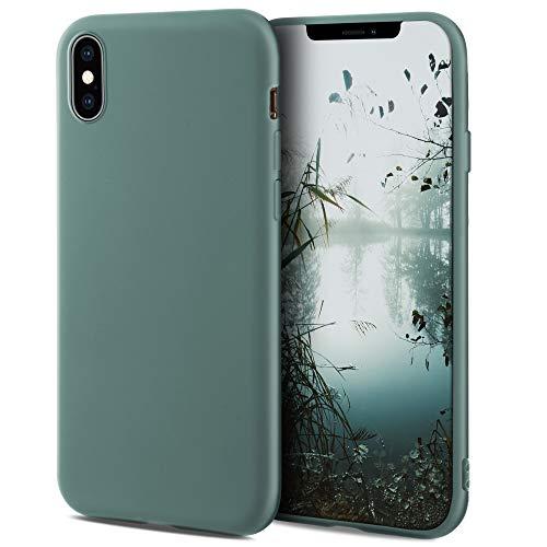 Moozy Minimalist Series Funda Silicona para iPhone XR, Gris Azulado con Acabado Mate, Cover Carcasa de TPU Suave y Fina