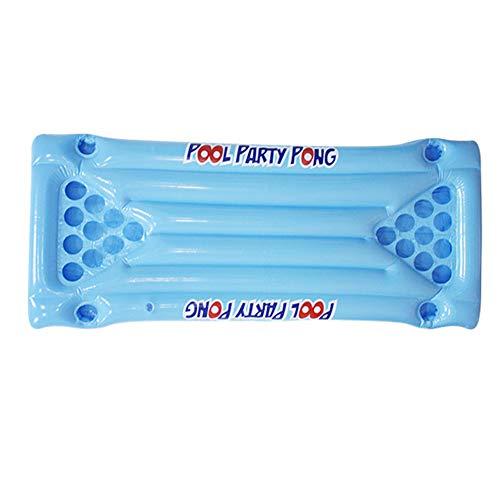 Ljym88 - Mesa hinchable de bolas de cerveza con soporte de 24 tazas, hamaca flotante para juegos de beber, No cero., azul, Tamaño libre