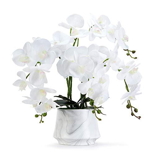Orquídea artificial de flores artificiales Phalaenopsis orquídea artificial decoración de interiores orquídea blanca centro de cocina flores decorativas sala de estar arreglo de flores