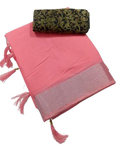 Ditya Fashion's Women's Linen Saree with Silver Border and Jacquard Blouse (st44, Peach)