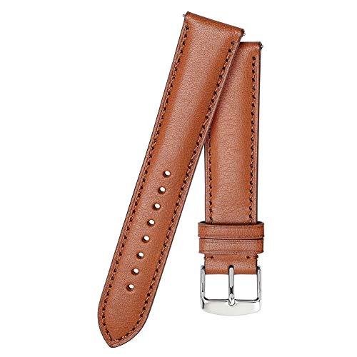 Correa de reloj de cuero 18mm 20mm 22mm Correa de reloj BandaHombres Mujeres Pulsera de repuesto Belt-Brown-Brown_Line_18mm