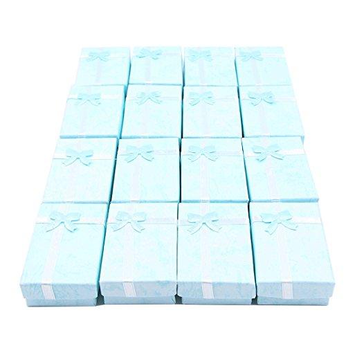 Gesh 16 cajas de regalo de joyería de papel para joyas, relojes pequeños, collares, pendientes, pulseras, caja de regalo (azul cielo)