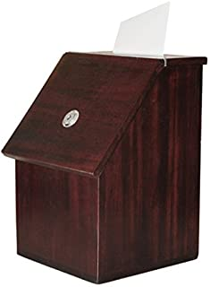 MCB - Wood Suggestion Box - Donation Box - Ballot Box - Locking with 2 Keys - for Wall or Counter Top (Furniture Brown)