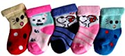 Organic cotton makes these socks soft and comfortable, keeping your little one's feet warm with a gentle touch. 5 pair pack of socks come with 5 different designs and match with any outfit. These socks make a great addition to a baby shower gift alon...