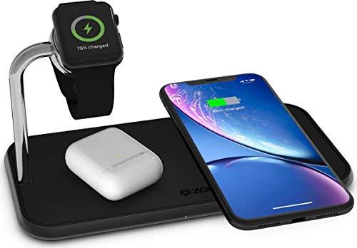 ZENS Qi/MFi-zertifiziertes Aluminium 3fach-Ladegerät für 2 Geräte + Apple Watch, Fast Charging für iPhone SE 2020/11/11 Pro/11 Pro Max/Xs/Xs Max/Xr/X/8/8 Plus - Kompatibel mit allen Qi-fähigen Geräten