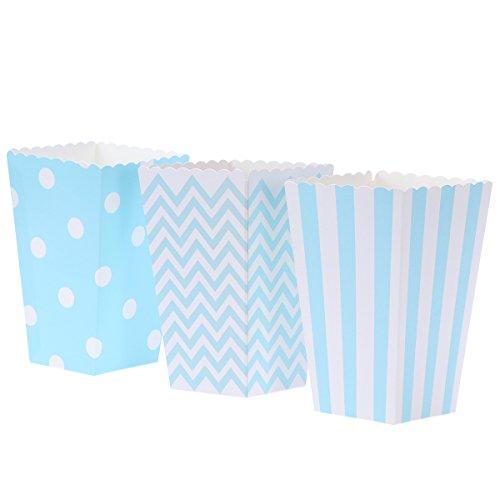 NUOLUX 48pcs Cajas de Palomitas cartón Caramelo contenedor patrón de Punto de Onda de la Ola de Rugby Deco (Azul)