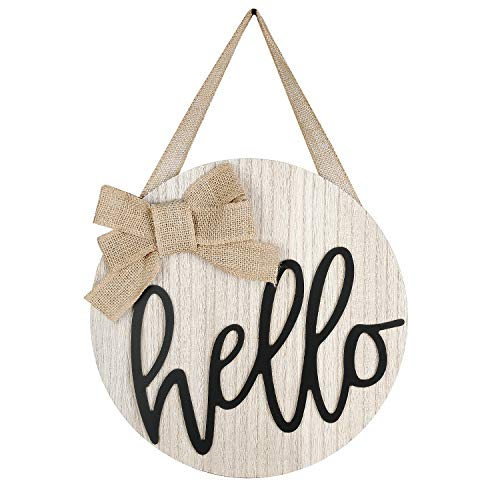 LEJHOME Hello Sign Front Door Wood Round Hanging Wreaths Sign for Rustic Farmhouse Porch Decorations...