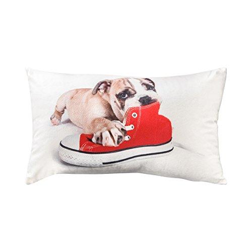 TODAY Coussin velours Doggy 30x50 cm blanc, gris et rouge
