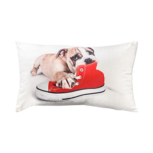 TODAY Coussin velours Doggy 30x50 cm blanc, gris et rouge