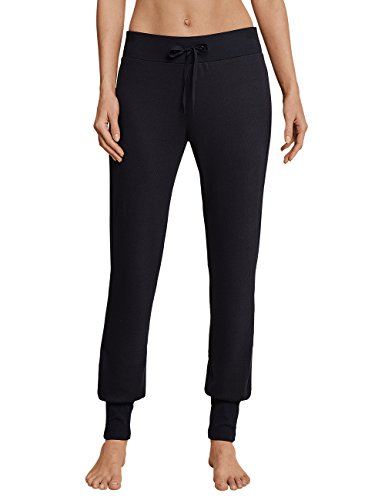 Schiesser Damen Mix & Relax Lounge Jerseyhose lang Schlafanzughose, Schwarz (Kohle 003), 36