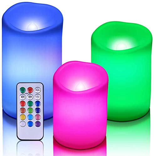 Ulalaza Flammenlose Kerzen mit Timer Farbwechsel LED-Kerzen mit Ferngesteuerter Batterie Batteriebetriebene Außen-Innenkerzen (3er-Pack)