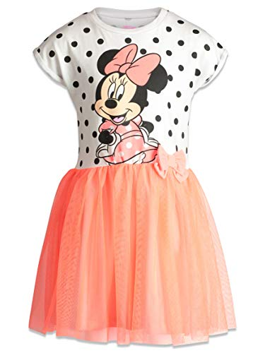 Disney Little Girls' Minnie Mouse Tulle Polka Dot Dress, White/Coral (6)