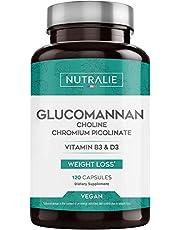 Glucomannan Konjac voor Afvallen en als Eetlustremmer 100% Natuurlijk met Choline Bitartraat, Chroompicolinaat en Vitamines B3 en D3 | 120 Vegan capsules Nutralie