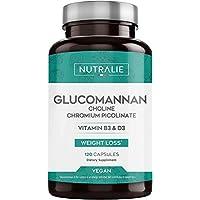 Glucomanano | Ayuda a Adelgazar e Inhibidor del Apetito 100% Natural con Bitartrato de Colina, Picolinato de Cromo y Vitaminas B3 y D3 | 120 Cápsulas Vegetales | NUTRALIE
