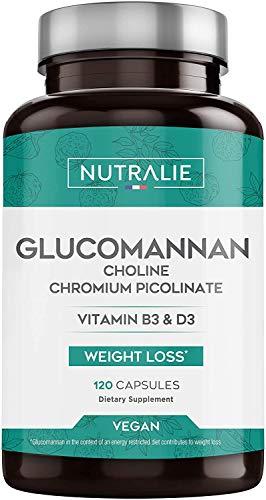 Konjac Glucomannane 3.000mg par dose | Aide Minceur et Coupe-Faim 100% Naturel avec Bitartrate de Choline, Picolinate de Chrome et Vitamines B3 et D3 | 120 Gélules Végétales | NUTRALIE