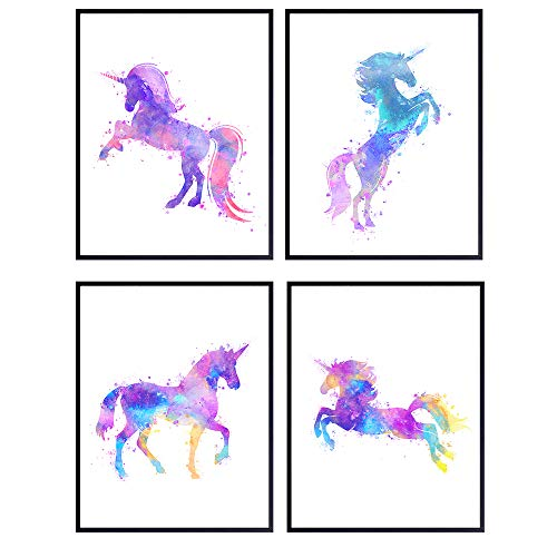 Purple Unicorn Watercolor Wall Art Prints - Unframed Set of Four - Perfect Gift for Girls Room or Nursery - Chic Home Decor - Ready to Frame (8x10) Photos