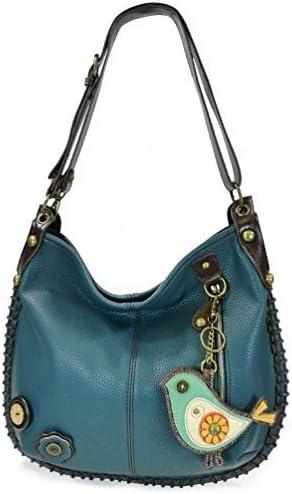 CHALA Crossbody Handbag, Hobo Style, Casual, Soft, Shoulder or Crossbody - Navy (Green Bird)