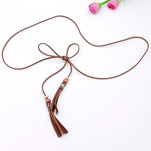 XIMAO Cinturón De Cuerda De Cuerda Versión Coreana Decoración Salvaje Cinturón De Borla Cintura Cadena De Cintura con Cuentas Accesorios De Damas