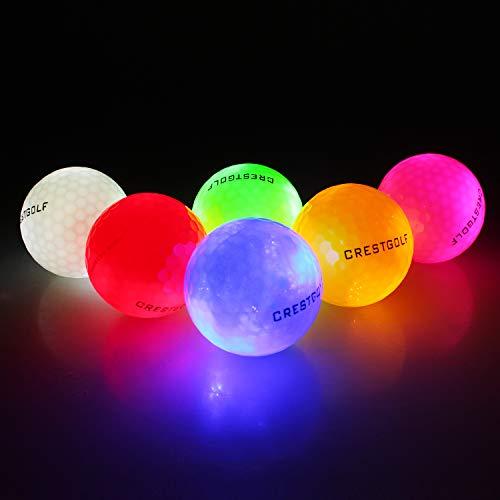 Crestgolf 6 Stück LED Leuchten Golfbälle Nachtgolfball Offizielle Größe Glow In Dark Perfekt für Golf Langstreckenschießen (gemischte Farbe) Neu