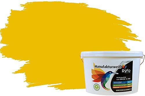 RyFo Colors Bunte Wandfarbe Manufakturweiß - weitere Gelb Farbtöne und Größen erhältlich, Deckkraft Klasse 1, Nassabrieb Klasse 1 Bernstein 10l