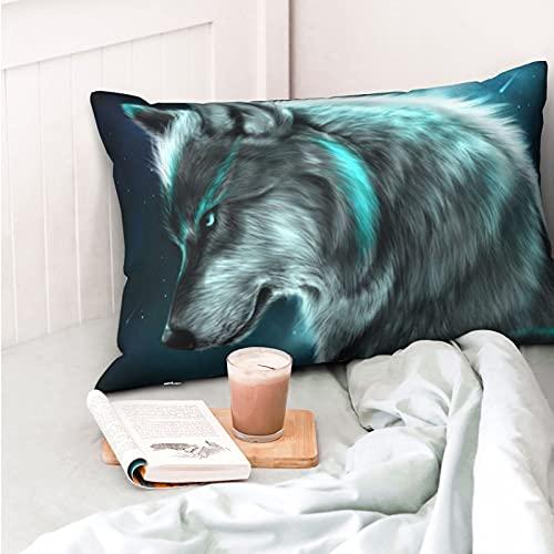 VVSADEB Moonlight Wolf - Funda de almohada de 20 pulgadas x 30 pulgadas, funda de almohada con cremallera, suave y acogedora, arrugas, tamaño estándar, 1 paquete
