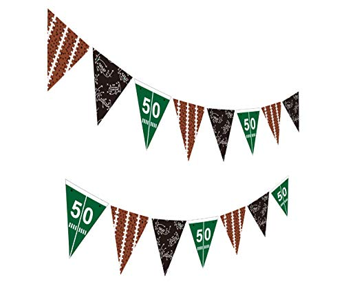 Gyzone Football Birthday Banner, Funny Pre-Strung Bday Sign Party Decorations for Kids and Adults