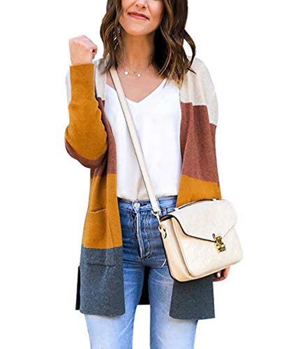 JUNBOON Womens Color Block Striped Draped Kimono Cardigan with Pockets Long Sleeve Open Front Casual Knit Sweaters Coat Yellow
