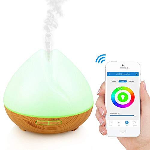 Wi-Fi Humidificador difusor de aceite esencial 400ml-Amazon Alexa echo, Google Home-niebla ajustable, ajuste de tiempo, luz LED de la noche