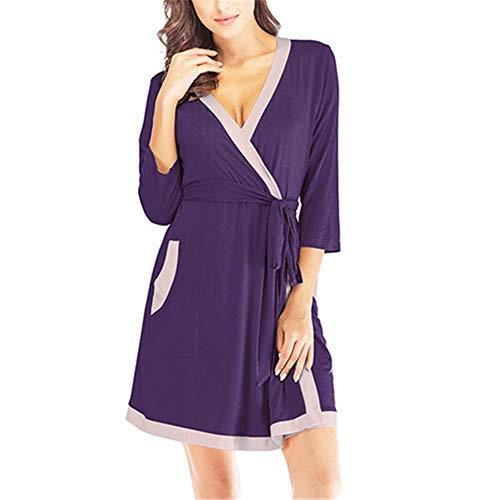 Damen Morgenmantel Kimono mit Taschen Bademantel Satin Kurz Robe Nachthemd Nachtwäsche Mit Blumenspitze,Modal sexy Naht Bademantel Bademantel lila L