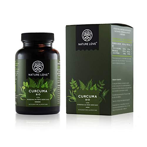 NATURE LOVE Cúrcuma orgánica cápsulas – 2150 mg por dosis diaria. 240 cápsulas veganas. Controlado en laboratorio y ecológico certificado. Altamente concentrado, elaborado en Alemania.