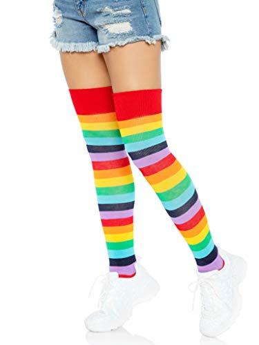 Leg Avenue womens Rainbow Pride Festival Thigh Highs Casual Sock, Multi, One Size US