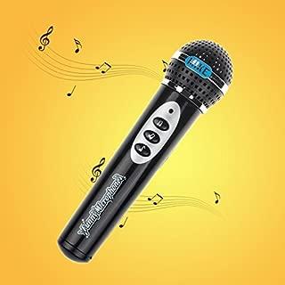 Flow.month 2020 New Funny Lighting Wireless Microphone Model Gift Music Karaoke Cute Mini Speaker Toy (7.5inch, Black)