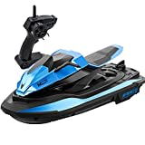 URVP 1/14 Model Motorboat Ship Rechargeable Anti-Collision Toys RC Boats 2.4GHz High Speed Blue Jet-ski Electrical Radio Remote Control Boats for Pools Lakes Outdoor Adults Boys and Girls Gift