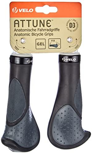 ERGOGEL D3 BAR Fahrradgriff, ergonomische Form, Gel-Schraubgriff, mit Lenkerendstopfen, Länge: 138mm, schwarz/grau