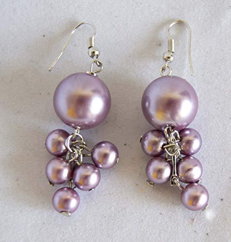 Orecchini in argento sterling con perle colorate 5,5 cm. Spedizione GRATIS 72h Viola