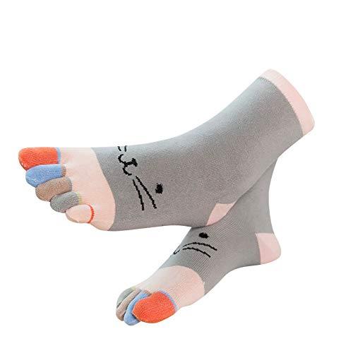 Dasongff Damen Socken aus Baumwolle Witzige Socken Karikatur Tier Socken Niedliche Tiere Socken Bunt Muster Socken mit Bunten Zehen