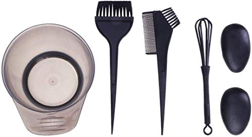 POFET Juego de 5 tintes para el cabello, cepillo de color para el cabello y cuenco, incluyendo cuenco para tinte, cepillo para teñir, cubierta para los oídos y mezclador (negro)