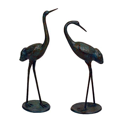 Solstice Sculptures XST/320 Dark Verdigris Cranes Pair Medium Aluminium Staues, 35x19x71 cm