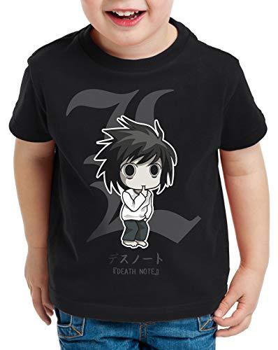 style3 L Death Note T-Shirt per Bambini e Ragazzi quaderno Anime Manga Yagami, Colore:Nero;Dimensione:152