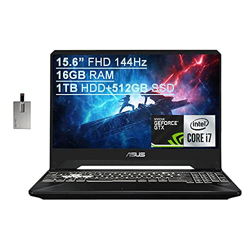 "2021 Asus TUF Gaming FX505 15.6"" FHD 144Hz Laptop Computer, 9th Gen Intel Core i7-9750H, 16GB RAM, 1TB HDD+512GB SSD, Backlit KB, HD webcam, GeForce GTX 1650 GPU, Win 10, Black, 32GB SnowBell USB Card"