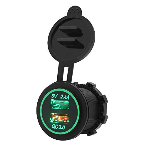 Linqingshiduodeshangmaoyouxiangongsi Switch Dual USB Car Charger Devices 30W/3.4A Super Quick Charge QC3.0 switch panel (Color : Green)