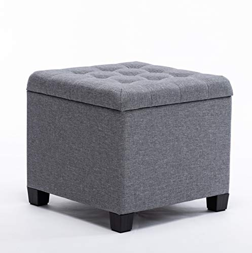 HNNHOME 45cm Cube Linen Padded Seat Ottoman Storage Stool Box, Footstool Pouffes Chair with Lids (Grey)