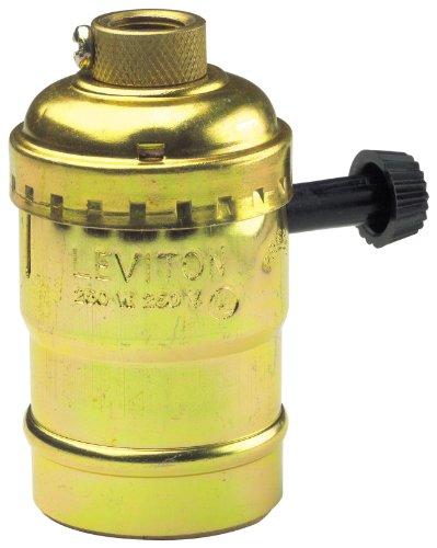 Leviton 7070-PG Electrolier 2-Circuit Lamp Holder, 250 W, Incandescent, Medium, Brass
