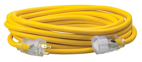 Southwire 01687 25-Foot 12/3 made in America Insulated Outdoor Extension Cord with Lighted End, 3-Prong, Yellow