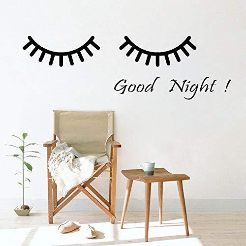 Vinilo dibujos animados ojos buenas noches palabras kindergarten calcomanía de pared pegatinas de pared decoración de la habitación pegatinas artista pegatinas para el hogar80x28 cm